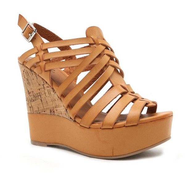 Qupid Peep Toe Wedge Sandals (1,235 THB) ❤ liked on Polyvore featuring shoes, sandals, camel, strappy platform sandals, strap sandals, wedges shoes, ankle strap sandals and cork platform sandals