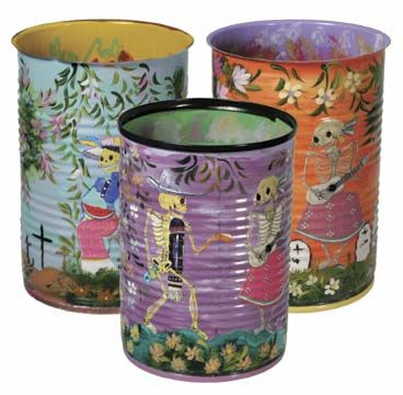 Dia de los Muertos painted tin cans (for purchase)