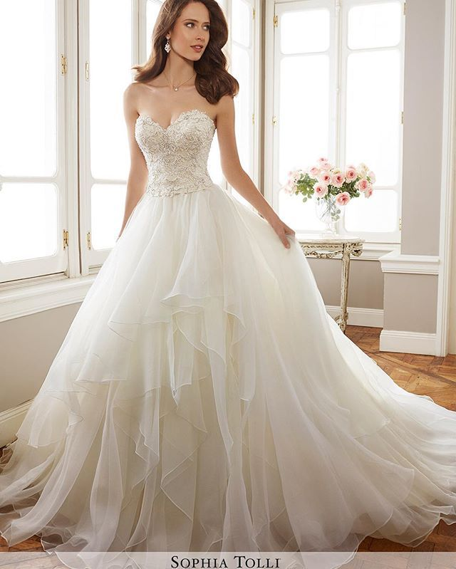 Fancy Wedding Dress by Sophia Tolli Spring Bridal Collection love the floatyness in the skirt