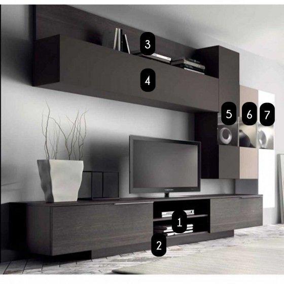 Meuble mural TV design Dania - Meuble mural TV design