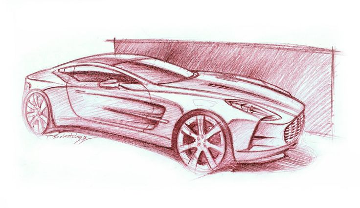 Aston Martin one-77 crayons 42x29cm drawn in 2012  by Pavlo Burkatskyy