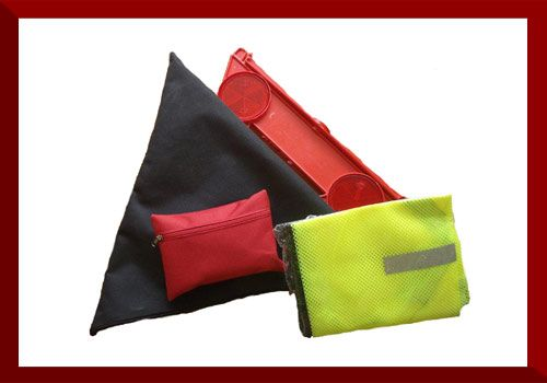 Triangle Safety Kit   Dimensions: 30cm x 30cm x 5cm  1 x Warning Triangle 1 x Safety Vest 1 x Mini First Aid Kit The Mini First Aid Kit contains:  2 x Safety Pins 1 x Mini Cotton Wool Roll 1 x CPR Mouth Piece 1 x Pair Examination Gloves 4 x Plaster Strips 1 x First Aid Dressing No. 3 1 x 50ml Antiseptic Solution