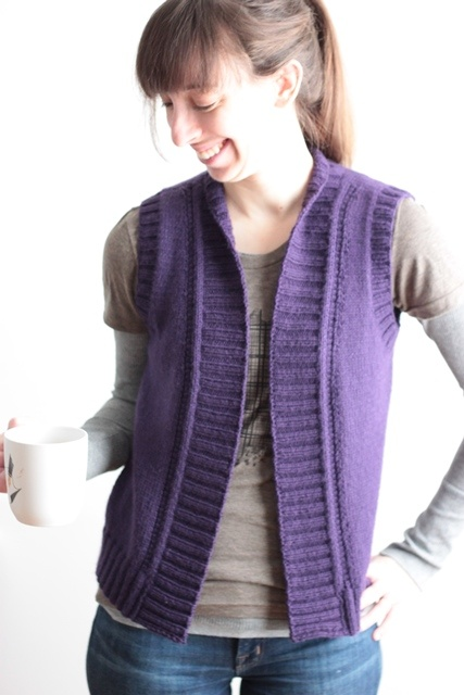 "Vest knitting pattern ""Lilac Trail"". You just need a few skeins of DK-weight yarn to whip this one up! Shown in Berroco's Vintage DK."