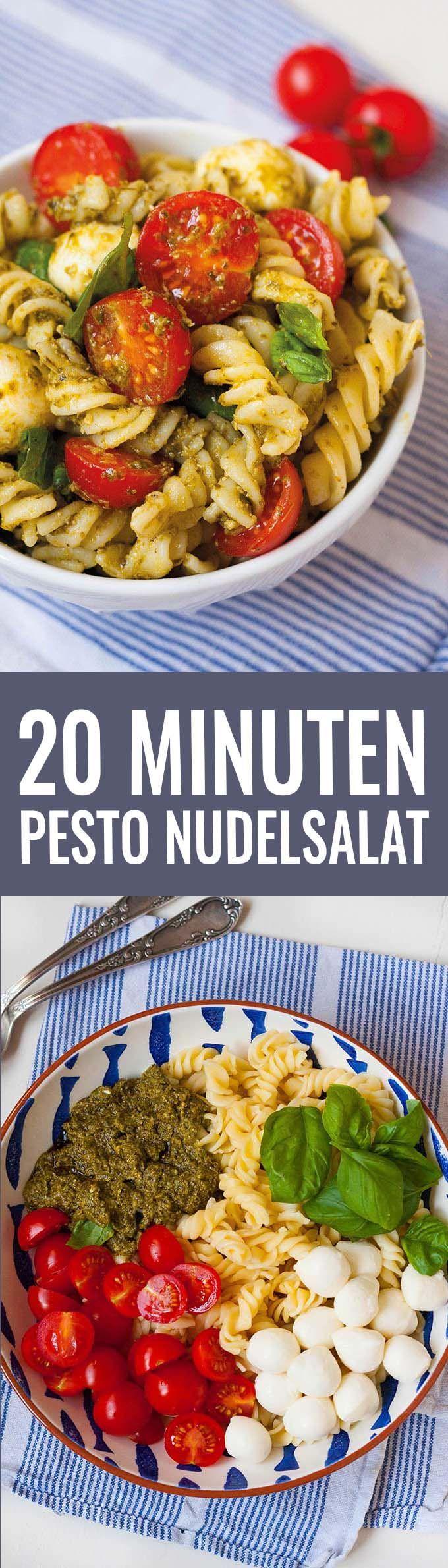 20 Minuten Nudelsalat mit Tomate, Mozarella und Pesto - http://Kochkarussell.com