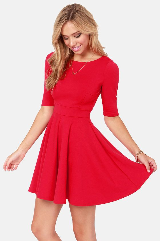 Adorable Red Skater Dress via lulus.com