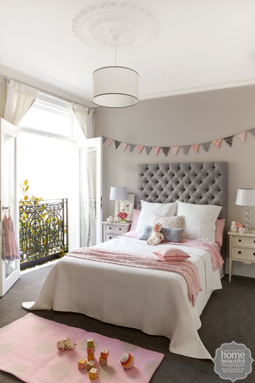 Dusty pinks and soft greys pair perfectly with a bedhead upholstered   Also, wall colour is nice and warm