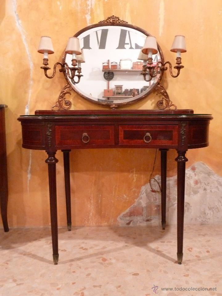 mesa tocador con espejo ovalado aos foto