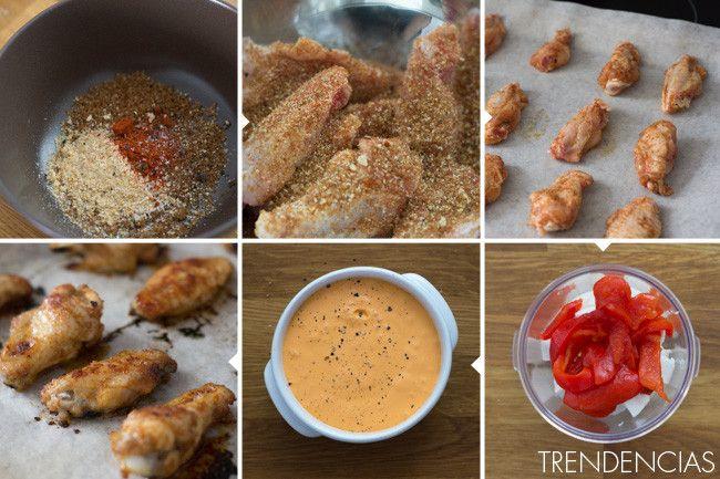 Alitas de pollo caramelizadas con salsa de pimientos rojos - elaboración