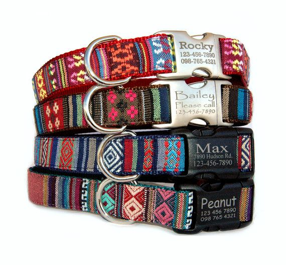 Personalized / engraved ID dog collar. (DOG LEASH $31-$34 is available) These collars are made of unique embroidered style South American, Navajo,