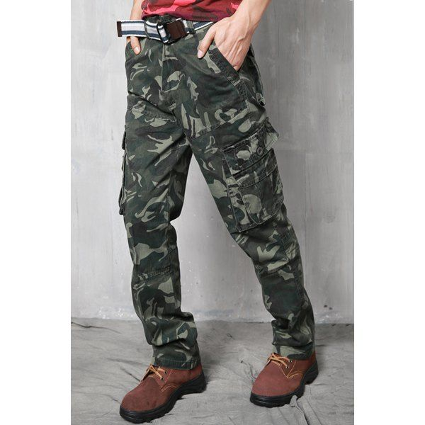 Slimming Pockets Zipper Fly Straight Leg Stylish Men's Camo Pants #jewelry, #women, #men, #hats, #watches, #belts, #fashion