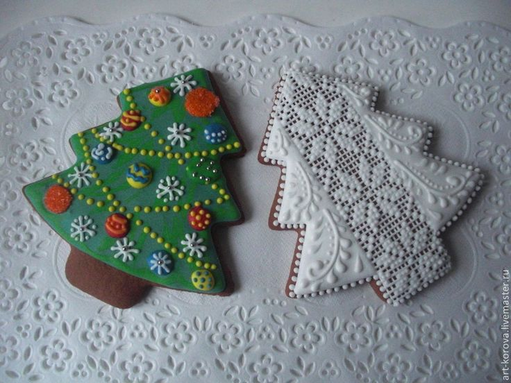 """Купить Пряник """"Новогодняя елка"""" - роспись пряников, расписной пряник, сахарная глазурь, корпоративный подарок"""