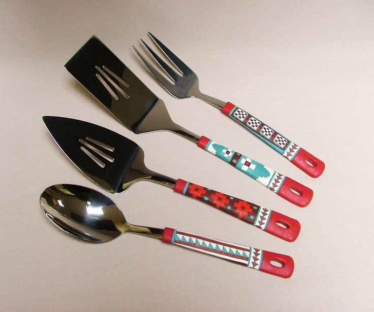 4-Piece Hostess Set - Southwestern Style Servers, Geometric Design, Buffet Ware Polymer Clay Decorated Utensils by SeajayDesigns on Etsy