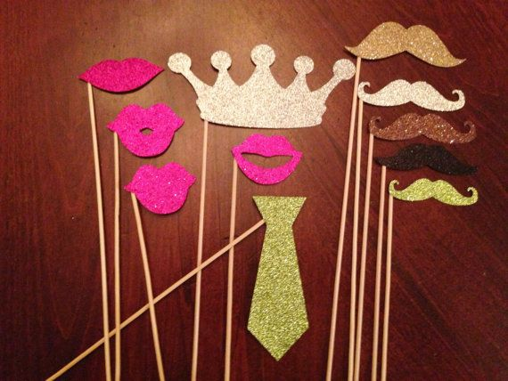 Paillettes Photo Booth Props - 11 pièces - accessoires de mariage Photo Booth, nuptiales de douche, accessoires de douche de bébé, Baby Shower, Glitter PhotoBooth Props