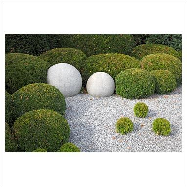 Stone, clipped Buxus and Chamaecyparis spheres in gravel - GAP Photos - Martin Staffler