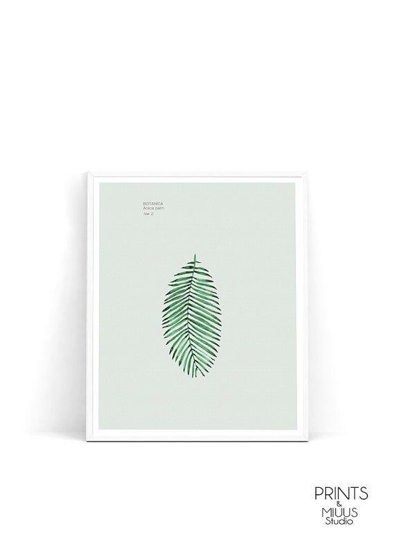 Palm Print Tropical Art Plant Art Leaf Art by PrintsMiuusStudio