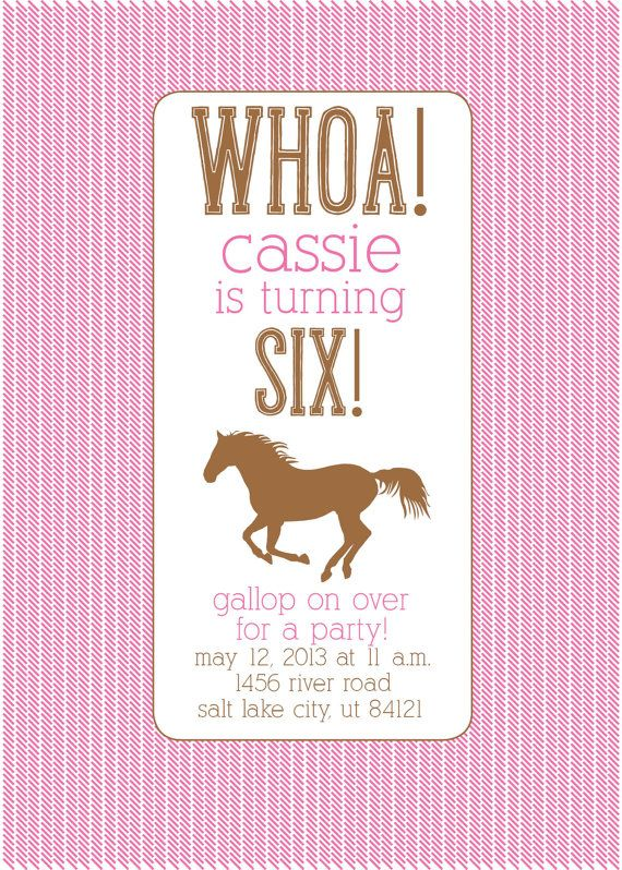 Hey, I found this really awesome Etsy listing at https://www.etsy.com/listing/158268644/custom-birthday-invitation-horse-party