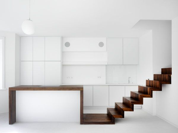 Massive Walnut Timber Stairs   Meandering Ribbon Connects #Kitchen #Stair  #Circulation And #