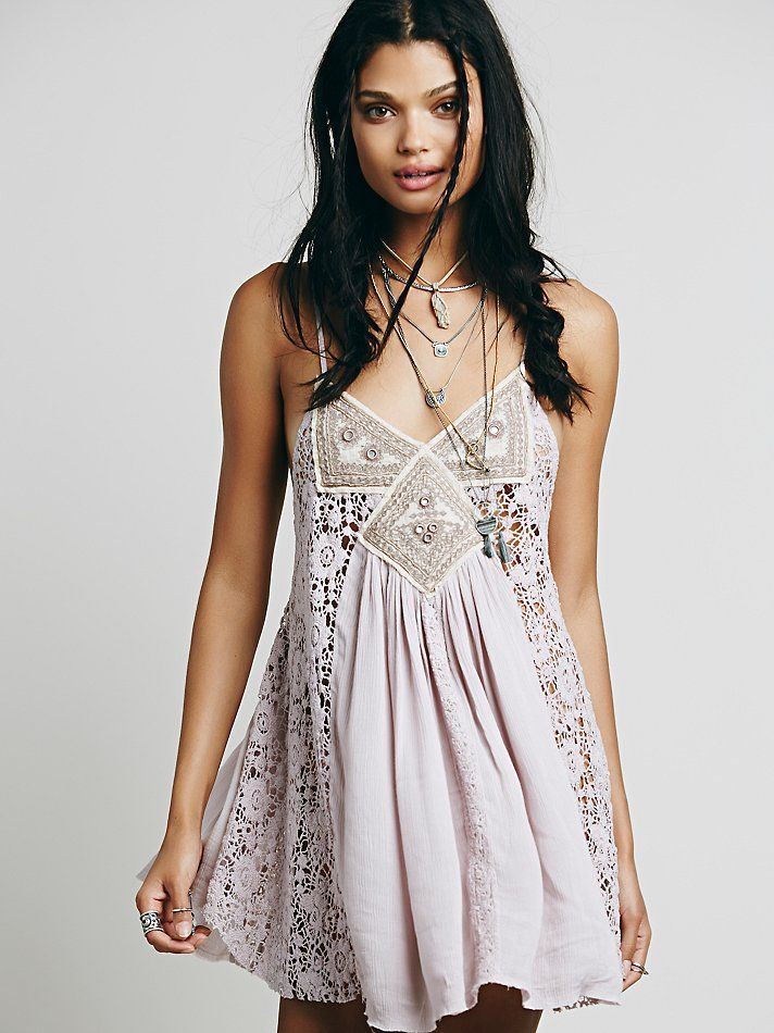 Free People Sleeveless Embroidered Lace Insert Tunic at Free People Clothing Boutique
