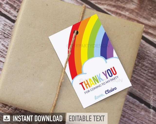 Rainbow Party - Thank you Tags - Favor Tags - INSTANT DOWNLOAD - Printable PDF with Editable Text by mypartydesign on Etsy https://www.etsy.com/listing/103133253/rainbow-party-thank-you-tags-favor-tags