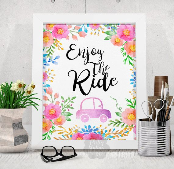 Enjoy The Ride Car Wall Print Inspirational by PrettyStylingArt