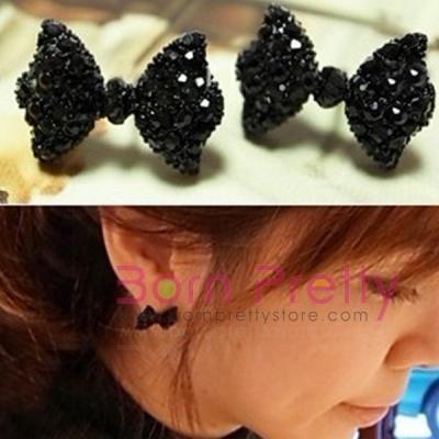 $1.69 1 Pair Ear Studs Lovely Bowknot Black Rhinestone Crystal stud earrings - BornPrettyStore.com