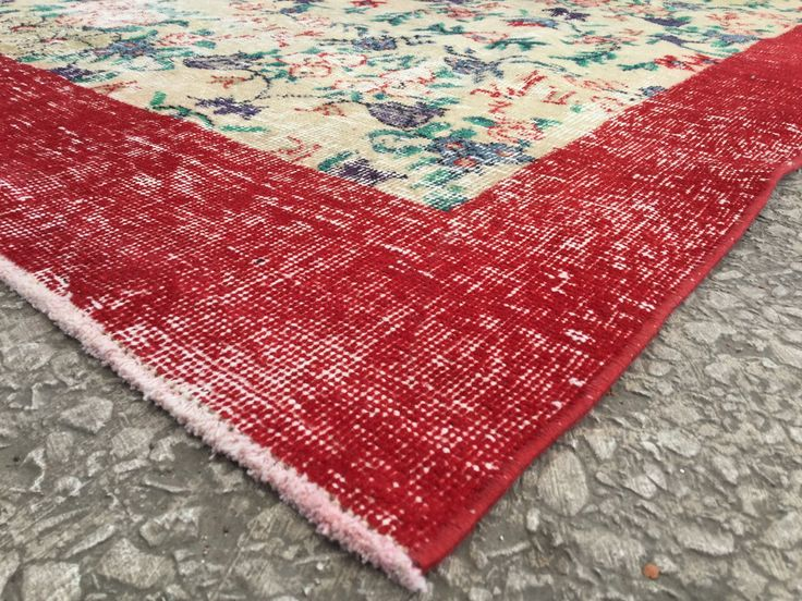 Overdyed Oushak Brilliant Red Rug & Carpet with Beautiful Flower Motif 9'8 x 6'8 Vintage TURKISH ANATOLIAN by EclecticRug on Etsy