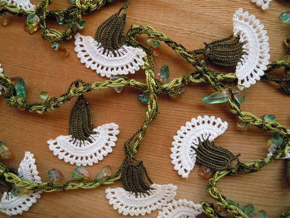Lariat bloem ketting haak wit en groen anjer lange door PashaBodrum