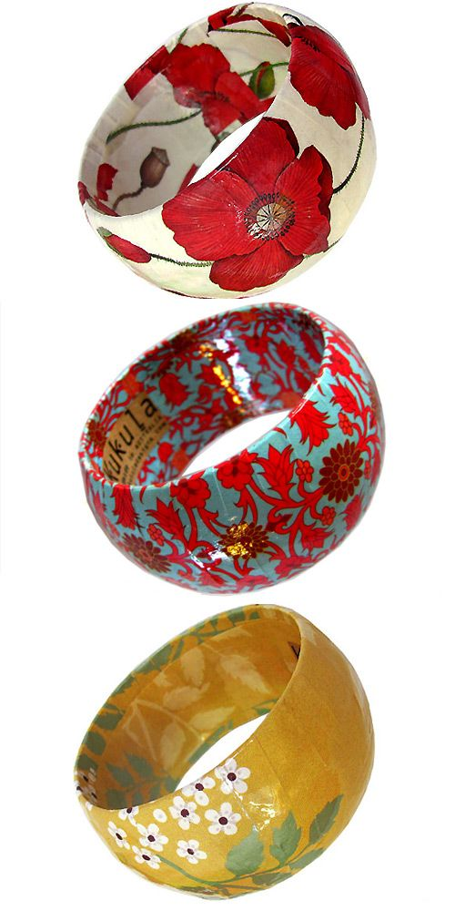 Papier Mache Bangles by Kukula Designs | Pretty Paper Things