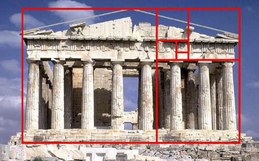 Parthenon, Acropolis, Athens.    This ancient temple fits almost precisely into a golden rectangle.