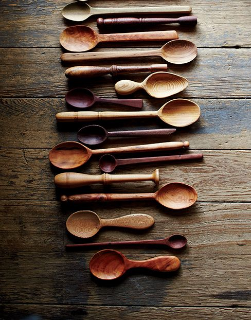 Oh how I simply adore wooden spoons!!   Photo Credit: Brie Williams. A collection of wooden spoons Stirling carves in his spare time.