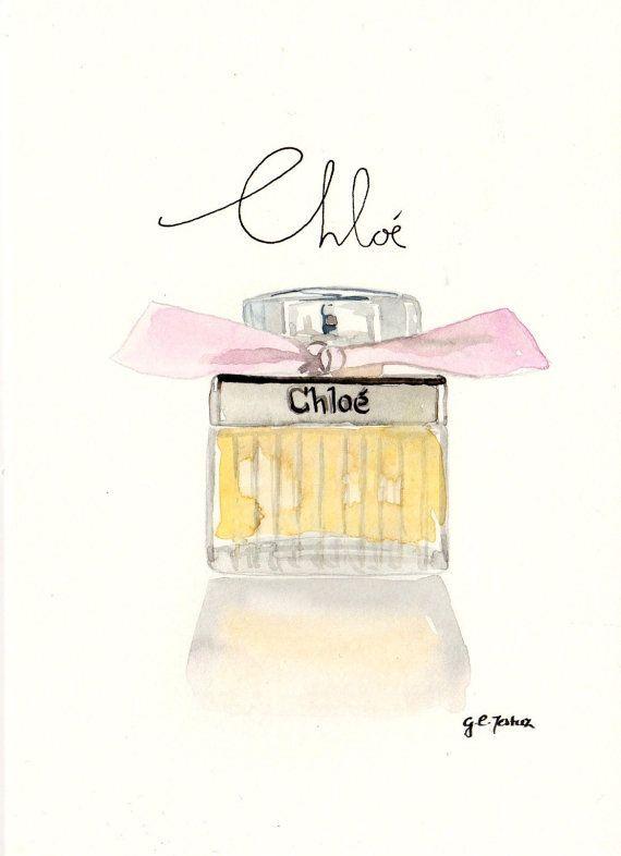Chloe by Chloe Fragrance - Watercolor Perfume bottle illustration