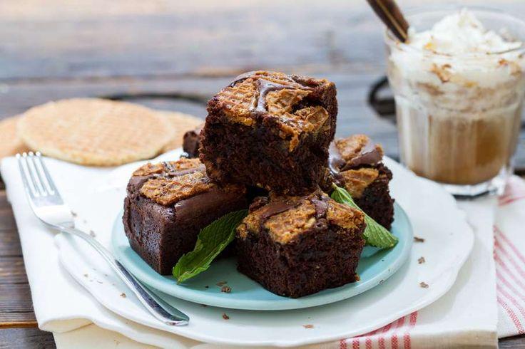 Chocolade brownie met stroopwafel