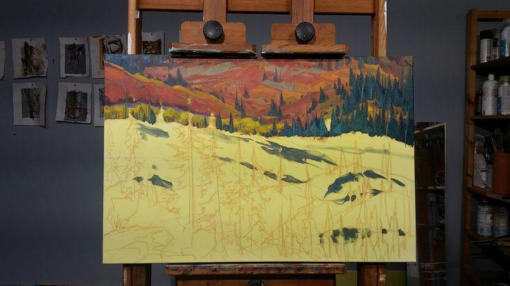 Working in the stillness of holiday. Progress on the comission piece for a very nice person.  😊 Yukon #Yukon #Canada  #pleinair #art #oilpainting #wilderness #adventure #Yukonart