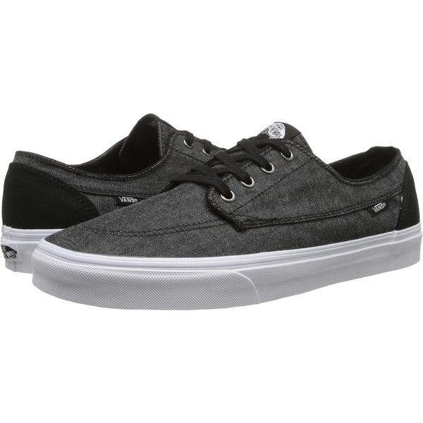 Vans Brigata ((C&C) Black/True White) Skate Shoes ($26) ❤ liked on Polyvore featuring shoes, sneakers, grey, white skate shoes, black white shoes, black sneakers, grip trainer and vans trainers