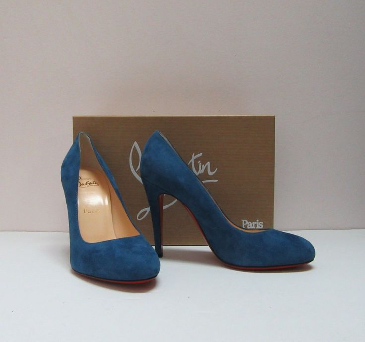 Christian Louboutin Ron Ron 100 blue suede pumps, size 7.5. New in box. SOLD