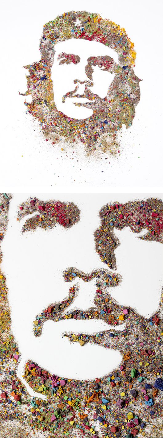 To create these extraordinary artworks, Martinez crushed pieces of watercolor pigments and rearranged the fragments to reveal the familiar faces