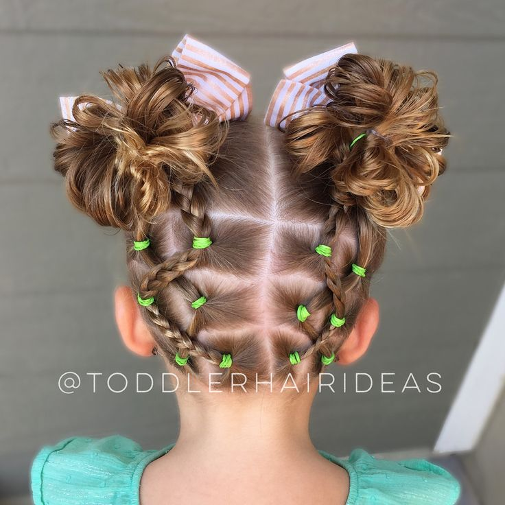 """Toddler Hair Ideas (@toddlerhairideas) on Instagram: """"Criss-crossed back ponies with one side braided, up to high messy bun piggies!"""
