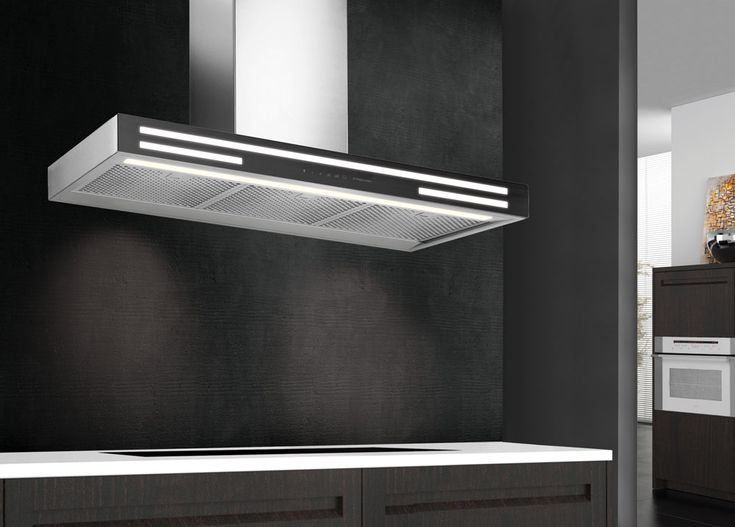 Alba Black Glass Rangehood that is silent and refined rangehood that will look elegant in almost every kitchen. With neon lighting and a sleek design, stand out from the crowd with the Alba!#designerrangehood #rangehood #design