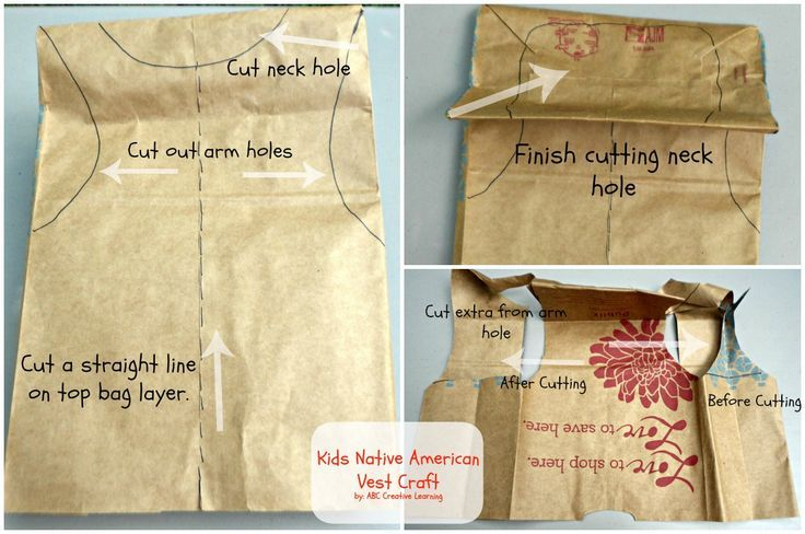 Native American Paper Bag Vest Craft.  Just in time for your Thanksgiving party.  Clear instructions are easy enough for your students to complete themselves.  Read more at:  http://momitforward.com/kids-native-american-vest-craft