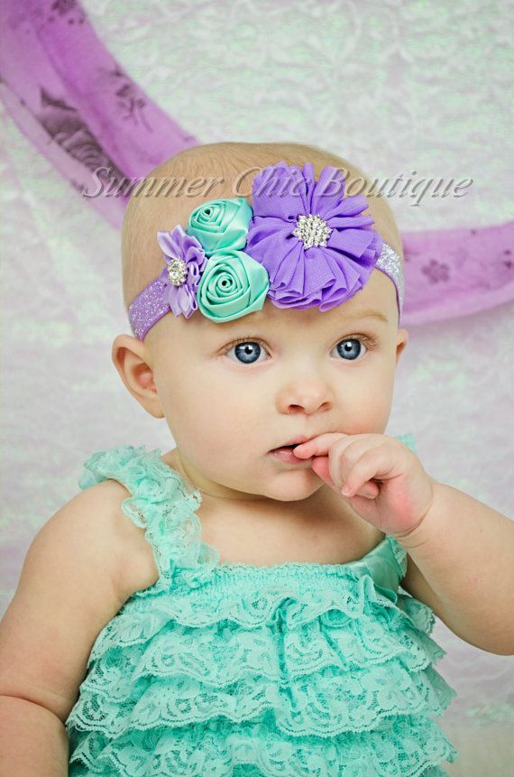 Purple and Aqua Baby Headband Infant by SummerChicBoutique on Etsy, $9.00