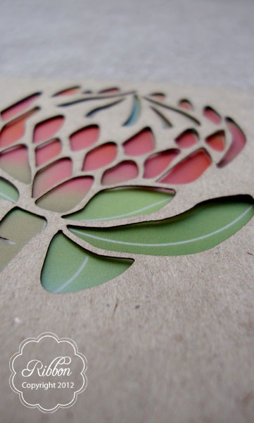 Laser cut Protea invitation from Ribbon Wedding Stationery, Johannesburg. http://www.ribbonweddings.com