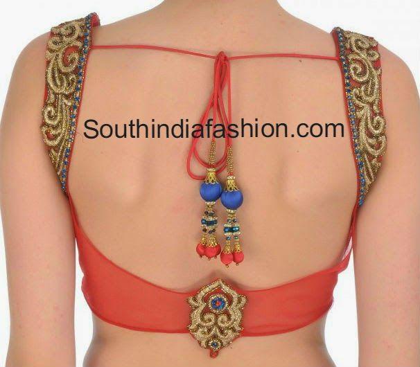 Low Back Neck Net Saree Blouse