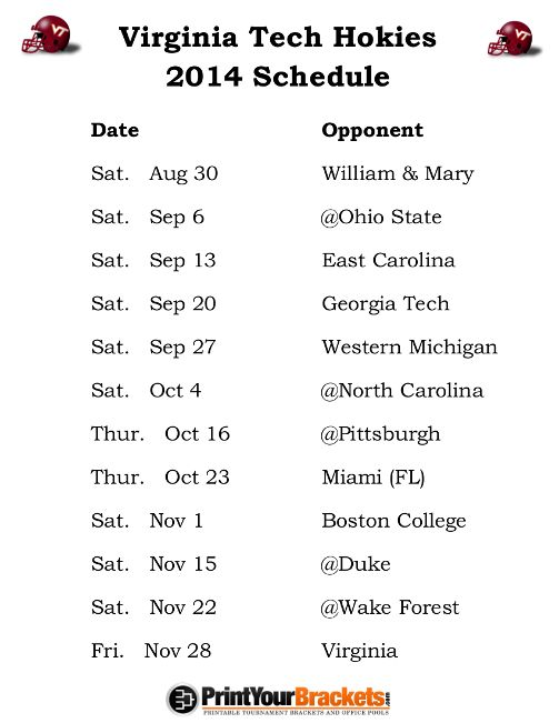 college football  2014 schedules | Printable Virginia Tech Hokies Football Schedule
