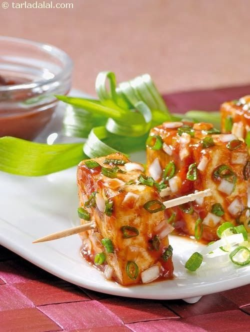 Grilled Sweet and Hot Paneer Cheese. The recipe is farther down the page, so scroll down to find it.