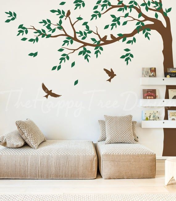 Long Corner Tree Wall Decal Tree Decal Design For Your Home