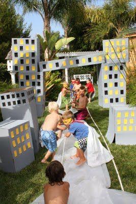 "cardboard box cityscape.  tug of war with ""bad guys"""