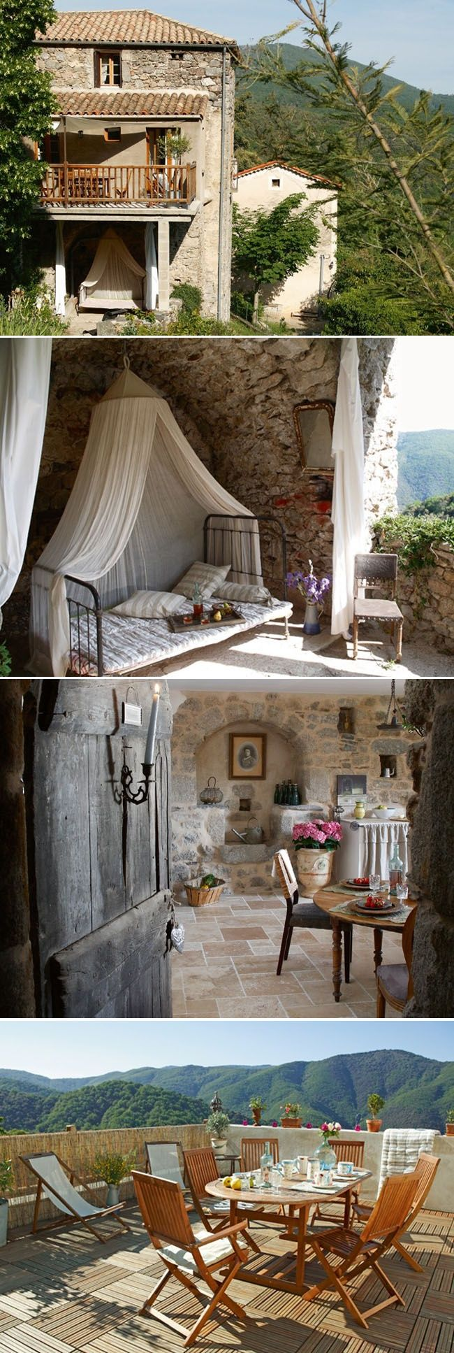 France Travel Inspiration - Farmhouse in Montpellier, south of France. Nestled in the lush Cevennes Mountain range, this charming place has been cared for by the same family for five generations.