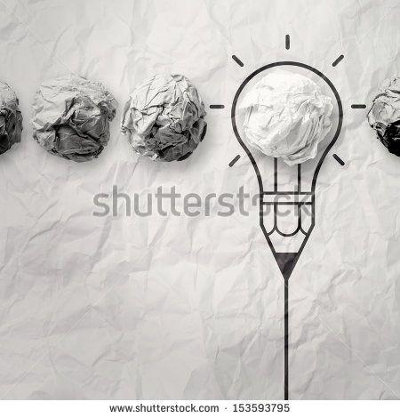 light bulb crumpled paper in pencil light bulb as creative concept