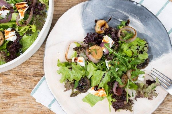 Mixed Green Salad With Grilled Mushrooms, Onions & Manouri Cheese