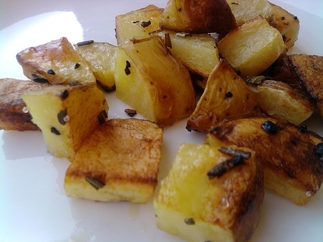 otted spoon. Stir to coat in oil.    4. Roast potatoes in oven on lower rack for 20 minutes. Toss gently with a spatula then roast another 10 minutes or until browned and crispy. Season with sea salt and black pepper.